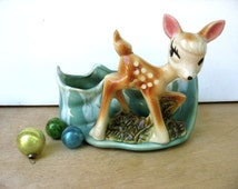Vintage 1950's Bambi Deer Fawn Planter USA Art Pottery Kitsch Animal Aqua Retro Air Plant Container