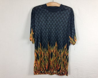flame fire shirt size L