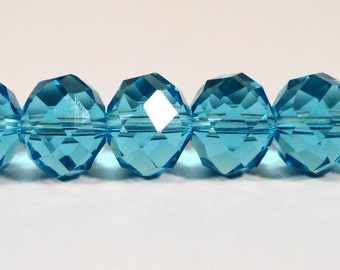 """Aqua Blue Crystal Beads 10x8mm (8x10mm) Crystal Rondelle Beads, Faceted Chinese Crystal Glass Beads on a 7"""" Strand with 24 Beads"""