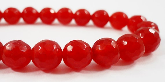 Faceted Jade Beads 8mm Round Red Jade Beads, Candy Jade Stone Beads,  Dyed Mountain Jade Gemstone Beads on a 7 Inch Strand with 23 Beads