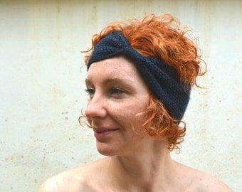 Indigo blue bow headband, hand knit turban, wool bandana, boho ear warmer, winter accessory