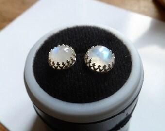 moonstone stud earrings, Blue moonstone studs, sterling silver,  crown earrings, princess studs,   elegant  8mm cabochon, white opal ring