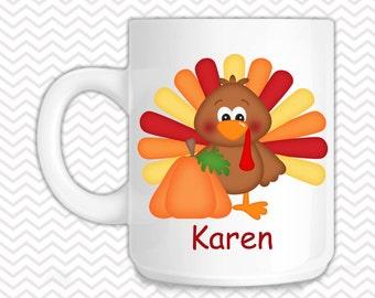 Thanksgiving Turkey Kids Mug - Personalized Turkey Mug - Customized Mug - Melamine Cup - Personalized Kids cup