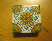 Earth Tones Mexican Talavera Tile Fridge Magnet One Inch Square Glazed Red Clay