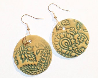 Paisley ceramic earrings