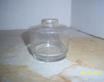 1880's - 90's  Clear Round Desk Ink Bottle 2 3/8 inches tall
