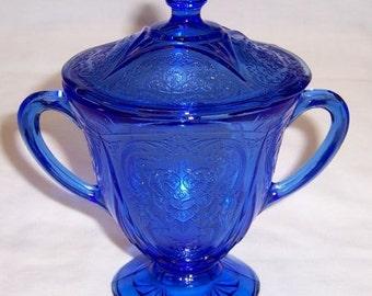 Hazel Atlas Cobalt Blue Depression Glass ROYAL LACE SUGAR Bowl with Lid
