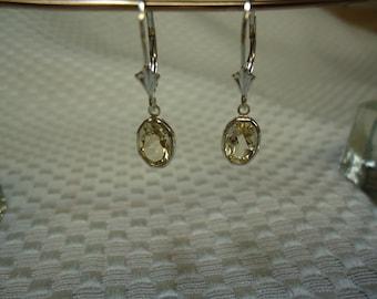 Oval Cut Citrine Dangle Leverback Earrings in Sterling Silver