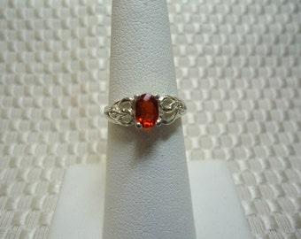 Oval Cut Orange Sapphire Ring in Sterling Silver   #1655