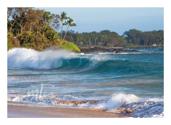 Waves Crashing on Makena Beach in Maui, Hawaii with Palm Trees in the Breeze