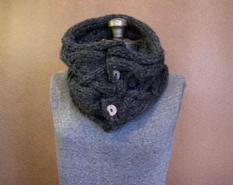 Knit Button Cowl, Chunky Knit Neckwarmer - MADE TO ORDER