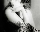 Lady and Leopard,vintage image instant download,altered art vintage photo.Wall Art,Home Decor.