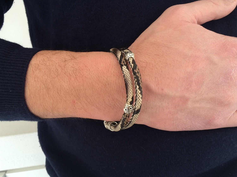 mens leather bracelet for him bracelet python bracelet