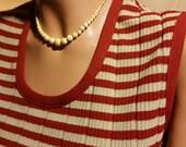 Mid-Century Modern Striped burnt orange/creme knit A-line sweater dress FREE SHIPPING!