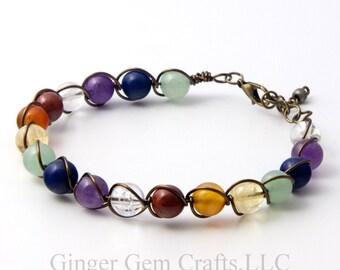 Chakra bracelet, beaded bracelets, handmade bracelets, wire wrapped bracelets, womens bracelet