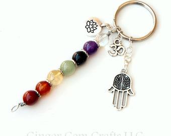 Chakra keychain, rainbow keychain, chakra jewelry, chakra stones, yoga keychain, healing keychain, lotus keychain, seven chakras