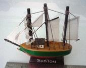 Small Wooden Sailing Ship Model - Boston