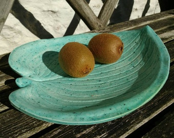 Large Pottery Fruit Bowl/Plate/Platter Robins Egg Green Ceramics - Wedding Gift Idea - Made in UK