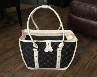 Vintage Dog Carrier Navy and Creamy White pet cat dog carrier