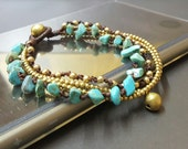 Chip Turquoise Brass Chain Bracelet