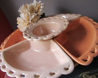 Mid Century California Pottery Relish Set With Lazy Susan Relish Tray Chip and Dip Pierced Edge Orange Peach L48  Segmented
