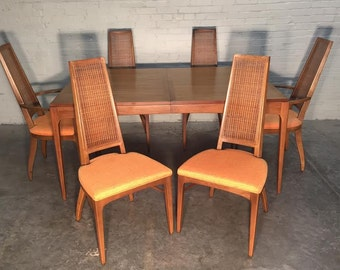 Lane Rhythm Mid-Century Modern Walnut Dining Table W/6-Chairs - Great Mad Men / Eames Era Decor *SHIPPING NOT INCLUDED*