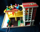 Vintage Fisher Price #930 Play Family Action Garage Ramp Toy Little People Accessories Complete Set Collectible Toy