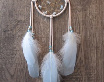 Dream Catcher White Deerskin Leather with Goose Feathers