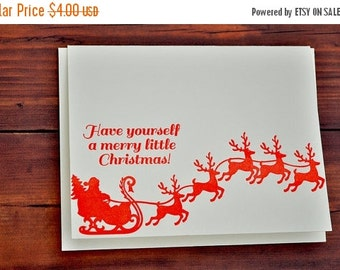 50% OFF Have yourself a merry little Christmas letterpress card , santa and reindeer , letterpress sleigh , red