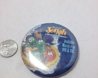 Vintage  movie Button :  veggie tales