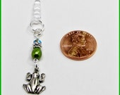 Universal 3.5mm iPhone iPad Tablet Swarovski Beaded Dust Plug Earphone Jack Pewter Charm Frog Toad