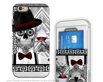 iPhone 6 6s Cardholder Case with Skull Artwork - Mr-JD-Vanderbone - 1920's Art Deco Sugar Skull Credit Card iPhone 6s Case with Rubber Sides
