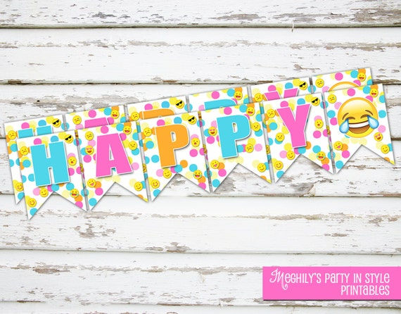 Kids Emoji Happy Birthday Banner Printable