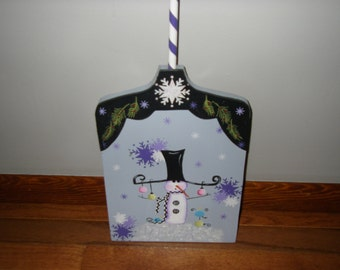 Snowman Shovel-hand painted wood shovel decoration for outdoors or indoors