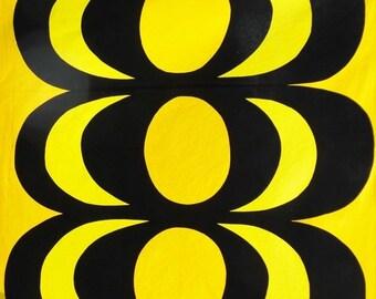 ON SALE Vintage Marimekko fabric designed by Maija Isola titled Kaivo,  Marimekko Oy Suomi Finland 1965 Mod Pop, Mid Century Modern, Yellow