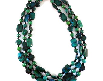Azurite Chrysocolla Necklace and Earrings-JS030