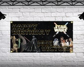 Birthday Star Wars Banner Personalized Large 2x4 Custom Vinyl  Banner Party Decoration