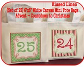 """Advent Calendar Countdown to Christmas Holiday Hanging Bags White Canvas Mini Totes Bags 6""""x5""""  Red Green Gift Bags - Custom Designs Welcome"""