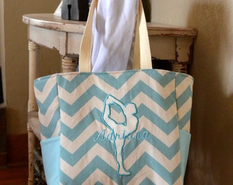 Handmade personalized aqua chevron dance bag