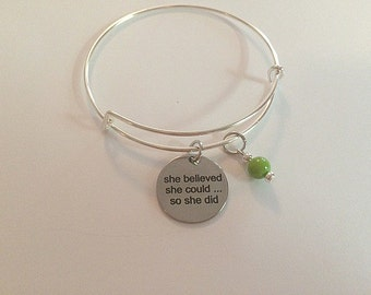 Children's Size She Believed She Could So She Did - Sized Small Adjustable Bangle Charm Bracelet - handmade