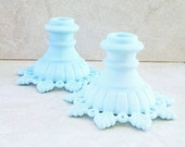 Ring and Petal Westmoreland Glass Blue Slag Glass Candle Holders Milk Glass Candle Sticks Taper