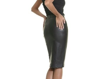 NEW  Black Exclusive Vegan Pencil Skirt /  Fitted Faux Leather Skirt / Stylish Elegant Knee length Skirt by Aakasha A09267
