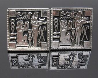 Large Egyptian Cufflinks Mens Vintage Jewelry Hierglyphics H812