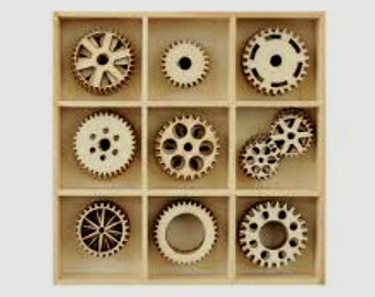 Wood Die Cuts - Laser Cut - Embellishments - Kaisercraft - Cogs - Wooden Box - 45 pieces - Gears - Steampunk