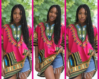 Dashiki Hot Pink African Shirt Tunic Shirt Blouse - Unisex