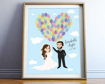 Disney UP Wedding Caricatures - Adventure is Out There! Custom Greatest Adventure Paper Anniversary Gift Inspired by Carl & Ellie