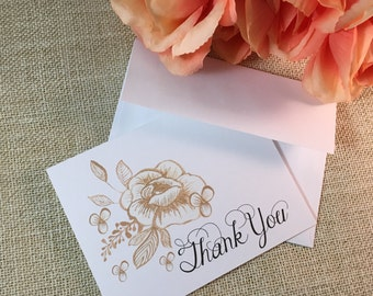 Floral Elegance Thank You Cards - Made to Order