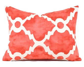 CLEARANCE SALE Lumbar Pillow Decorative Pillow Cover Coral Pillow Premier Prints Madrid Salmon