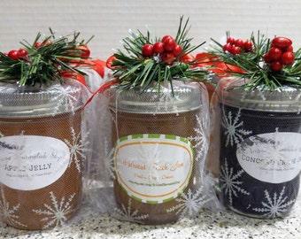 Christmas Jam & Jelly Gift/ 6 Jars Decorated/ 8 oz Ea/CIJ/ Home For The Holidays/Handmade Christmas Hostess Gifts
