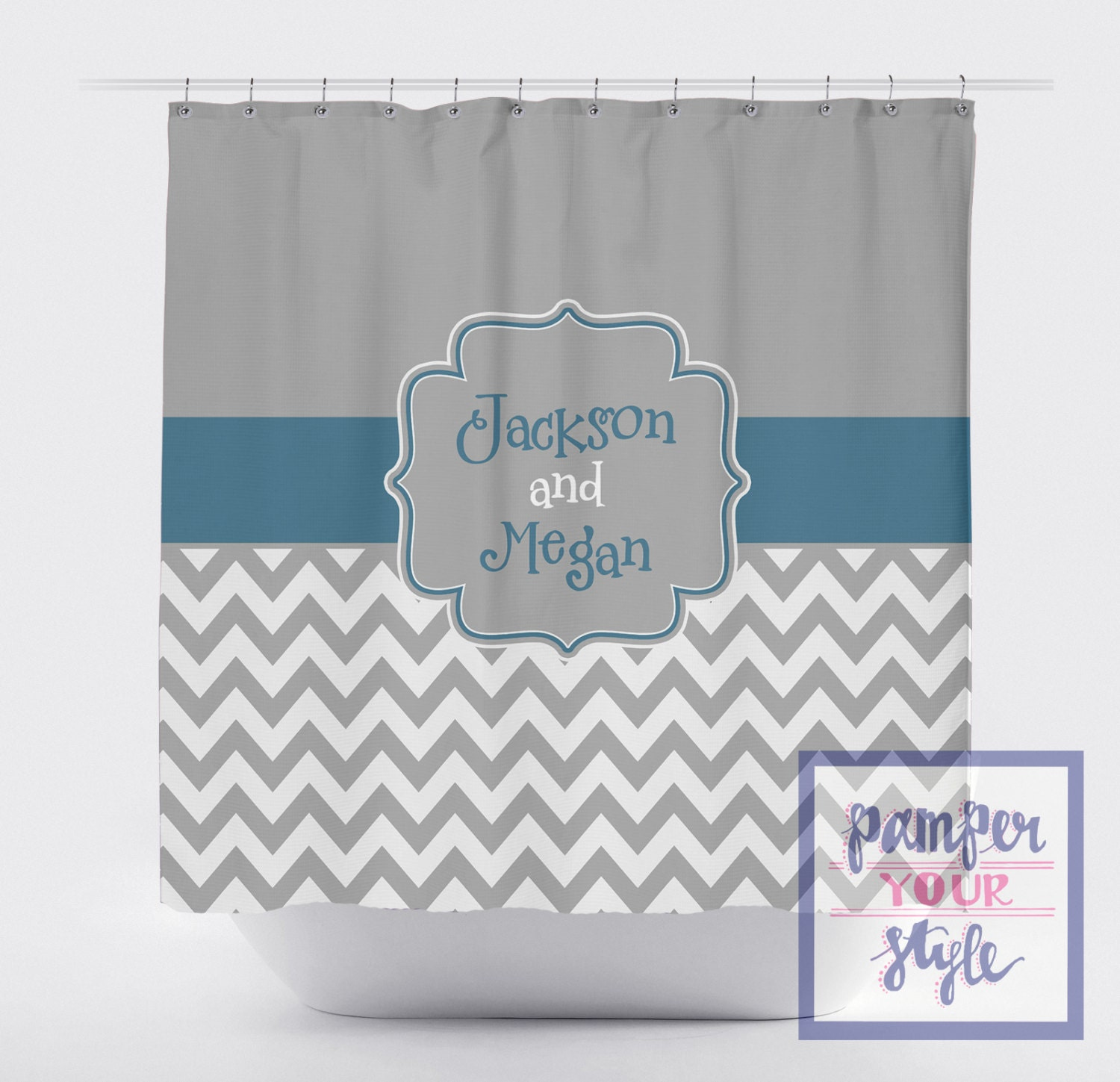 Gray And Teal Monogrammed Shower Curtain Monogrammed Shower
